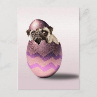 Cute Pug Easter Egg Design Holiday Postcard