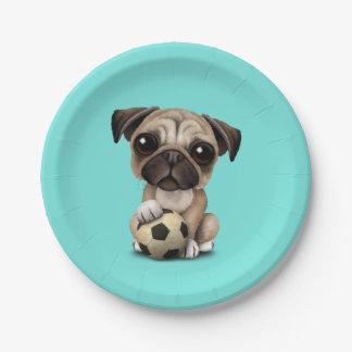 Cute Pug Puppy Dog With Football Soccer Ball Paper Plate