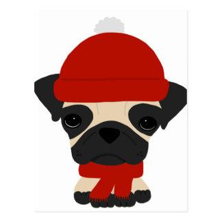 Cute Pug Wearing Hat and Scarf Postcard