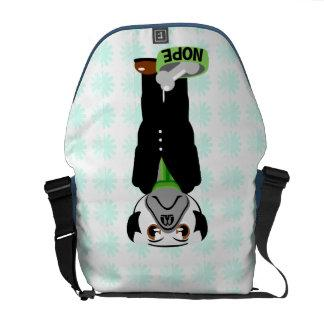 Cute, Stubborn Pug with Flower Pattern Courier Bag