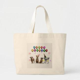 Cute Three Dogs Wishing Happy New Year 2016 Large Tote Bag