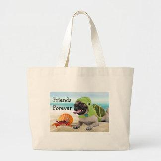 Friends Forever: Crab   Turtle Pug Large Tote Bag