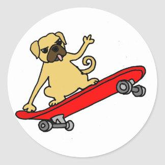 Funny Funky Pug Skateboarding Classic Round Sticker