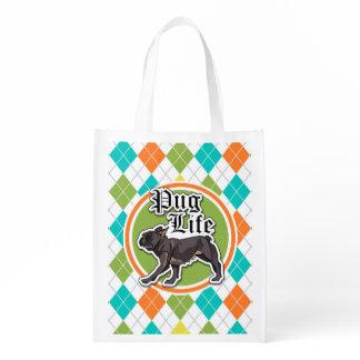 Funny Pug; Colorful Argyle Pattern Reusable Grocery Bag