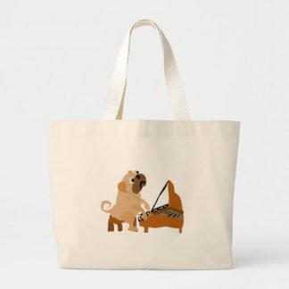 Funny Pug Dog Playing Piano Large Tote Bag