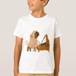 Funny Pug Dog Playing Piano T-Shirt