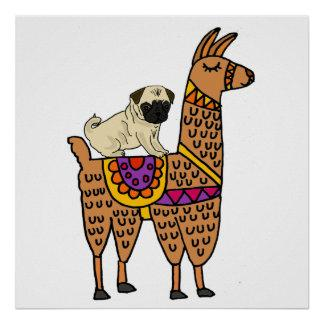 Funny Pug Dog Riding Llama Cartoon Poster