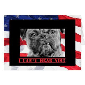 Happy Birthday Military Soldier U.S. Flag and Pug Card
