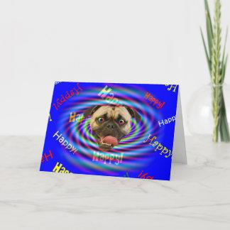 Happy Birthday Psychedelic Crazy Pug Card