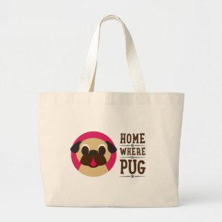 Home Is Where The Pug Is Fawn Pug Tote