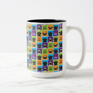 I Love Pugs Color Squares Two Tone Mug