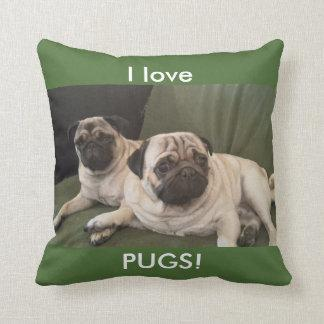 I love PUGS! square pillow