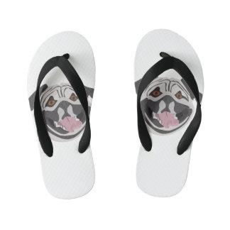 Illustration dog smiling happy pug kid's flip flops