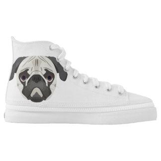 Illustration dogs face Pug High-Top Sneakers