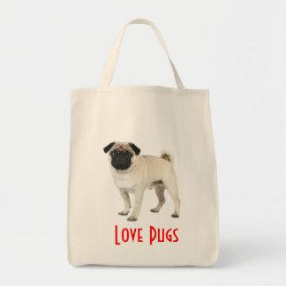 Love Pugs Puppy Dog Canvas Grocery Totebag Tote Bag