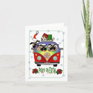 Peace on Earth Pug Christmas Card