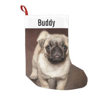 Personalized Pug Dog Photo and Your Pug Dog Name Small Christmas Stocking