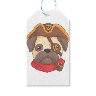 Pirate pug gift tags