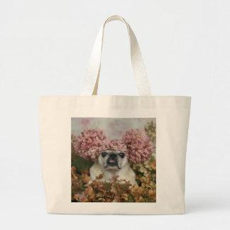 Pom Pom Pug Large Tote Bag