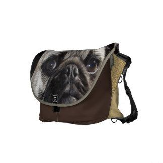 Pouty Pug Painting Messenger Bag