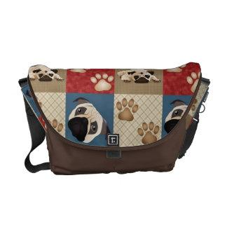 Pug and Pawprint Quilt Messenger Bag 2
