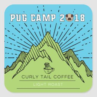 Pug Camp 2018 Curly Tail Coffee Light Roast Square Sticker