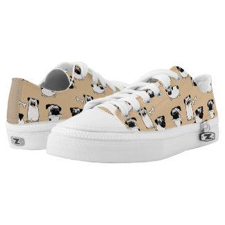 PUG Clothing Fawn Pugs Pattern Low-Top Sneakers