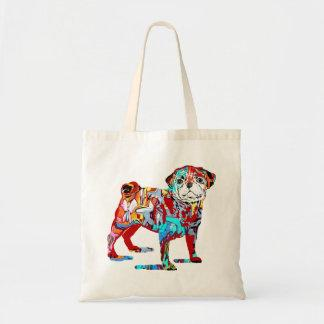 Pug dog graffiti tote