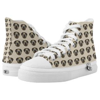 Pug Dog Pattern Zipz High Top Shoes Sneakers