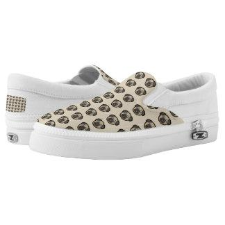 Pug Dog Pattern Zipz Slip On Shoes Sneakers