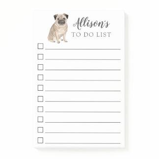 Pug Dog Personalized To Do List Post-it Notes
