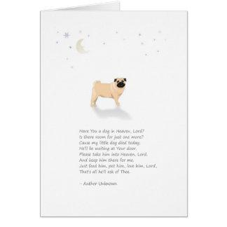 Pug Dog Pet Sympathy - (Male Dog) Card