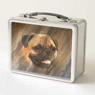 Pug face metal lunch box