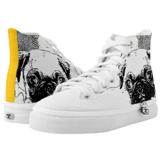 Pug in sunflowers high top tennis shoes