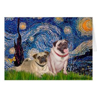 Pug Pair (fawn) - Starry Night Card