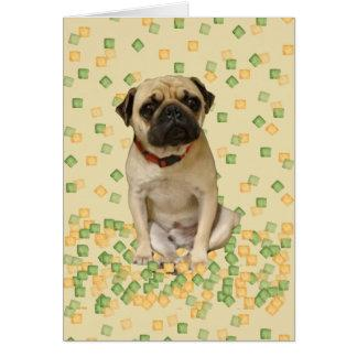 Pug Party in Hand Painted Earth Tones Card