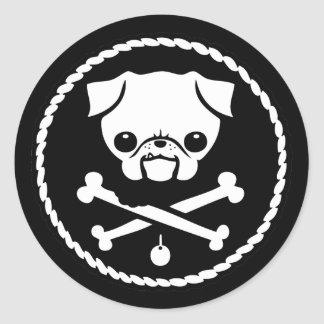 Pug Pirate Classic Round Sticker