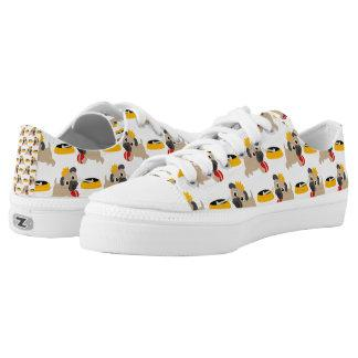 Pug Puppies with Crown red bubble Low-Top Sneakers