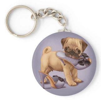 Pug Puppy and Shoe Keychain