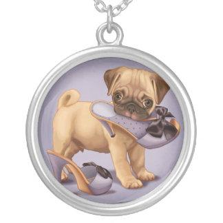 Pug Puppy and Shoe Silver Plated Necklace