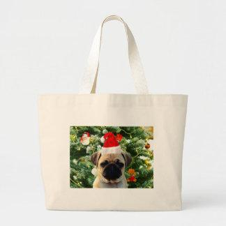 Pug Puppy Dog Christmas Tree Ornaments Snowman Large Tote Bag