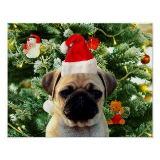 Pug Puppy Dog Christmas Tree Ornaments Snowman Poster