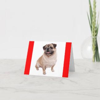 Pug Puppy Dog Red Greeting Blank Notecard