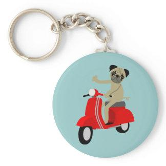 Pug Scooter Keychain