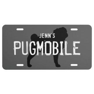 Pug Silhouette PUGMOBILE Custom Text License Plate