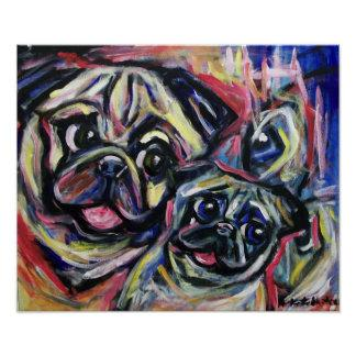 Pug Smile Abstract Poster