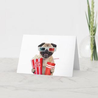 Pug watching a movie card