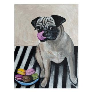Pug with Plate of Macarons Postcard