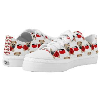 Pugs and Bowls Red (2) Low-Top Sneakers