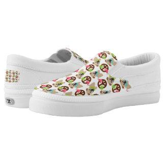 Pugs and Peace Signs Slip-On Sneakers